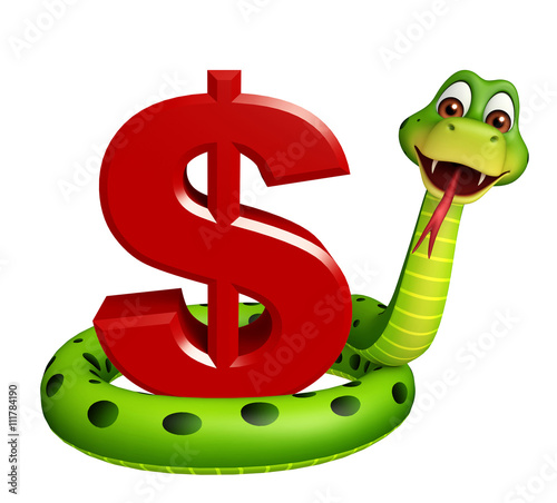 fun Snake cartoon character with dollar sign - Buy this