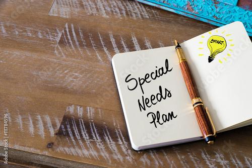 Fotografia Handwritten text Special Needs Plan