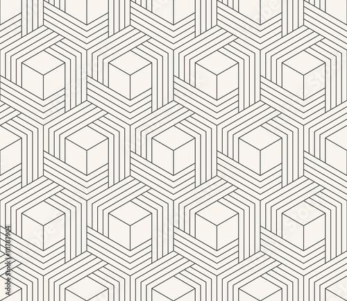 Fotografiet  striped geometric weaving pattern of hexagons.