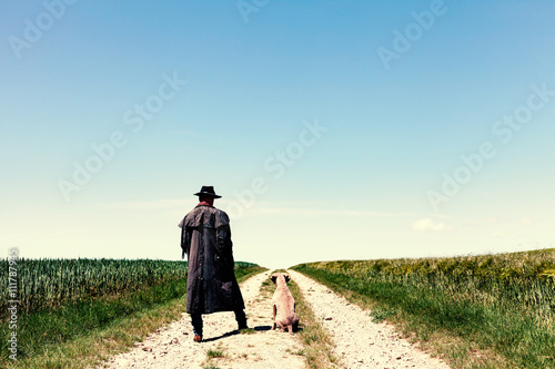 Fotografie, Obraz  Farmer mit Hund