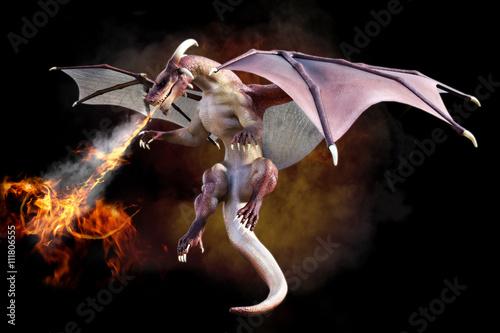 Foto op Plexiglas Gymnastiek Fantasy scene of a red dragon blowing fire on a gradient smoke black background. 3d rendering