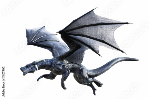 Fotografie, Tablou  3D rendering of a black fantasy dragon flying isolated on white background