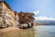 Beautiful beach with monumental rocks Kalamaki Zakynthos Greece
