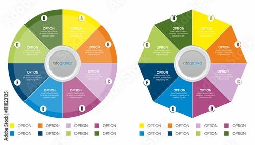 Fotografie, Obraz  Dwie kolorowe biznesowe infografiki kołowe