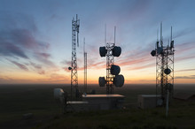 Cell Towers At Sunset. The Tal...
