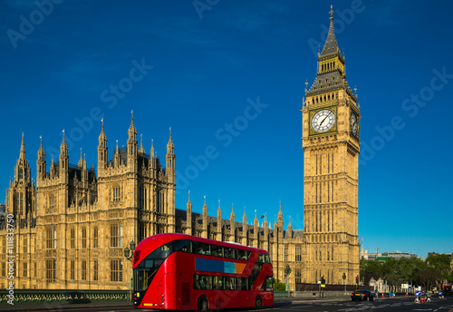 Foto op Canvas Londen rode bus Big Ben