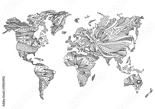 world map hand drawn flower floral design - Buy this stock ...