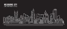 Cityscape Building Line Art Vector Illustration Design - Melbourne City