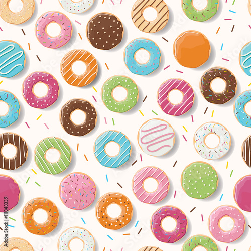 Cotton fabric Seamless pattern with colorful tasty glossy donuts