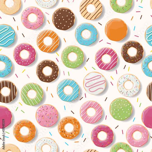 Materiał do szycia Wzór z kolorowe smaczne pączki błyszczący