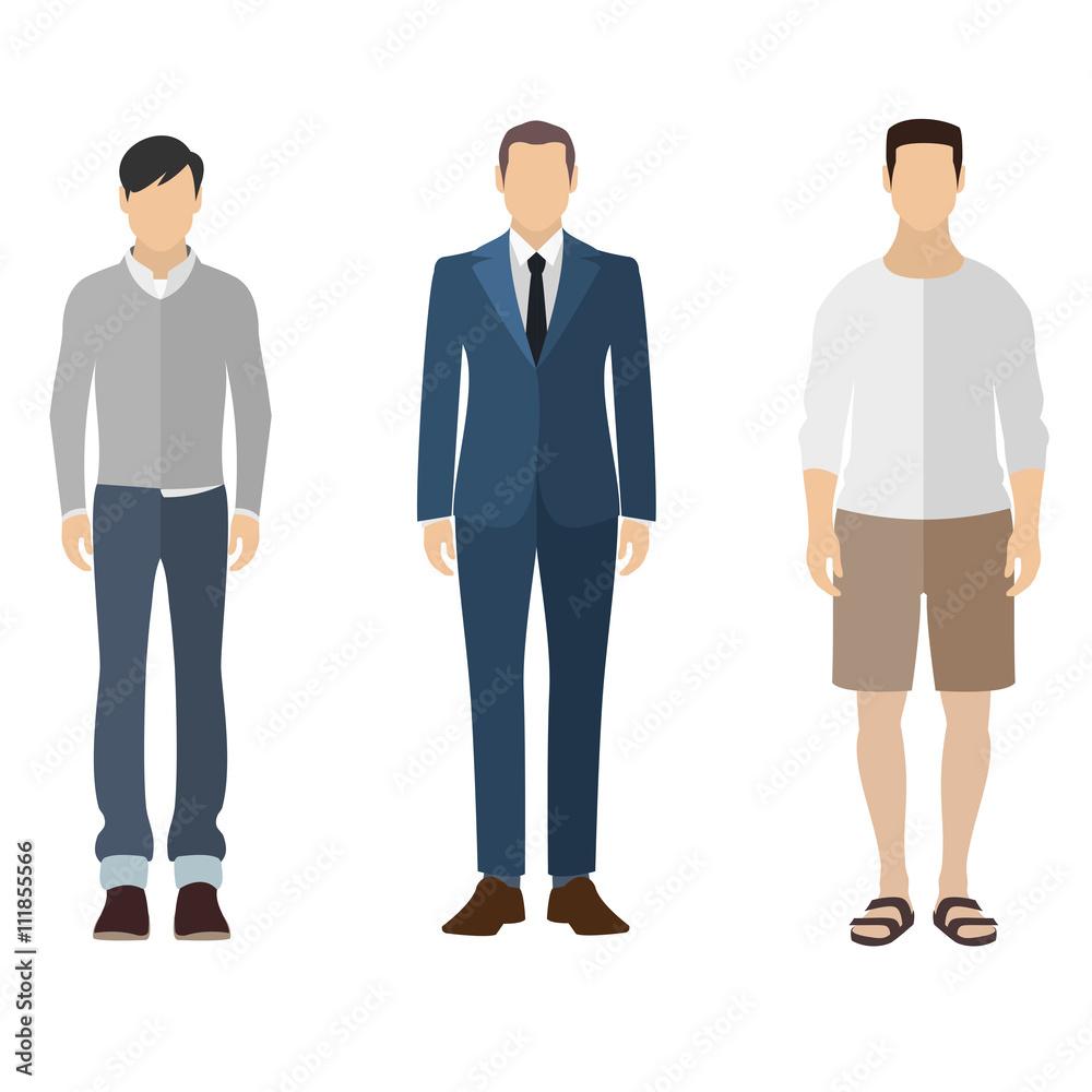 Człowiek ikona stylu płaski zestaw postaci ludzi