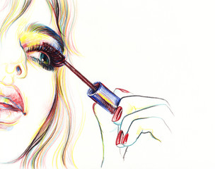 Make up, Beautiful woman face. fashion watercolor illustration