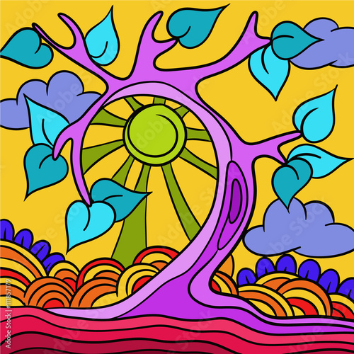 Türaufkleber Klassische Abstraktion Abstract vector tree with purple