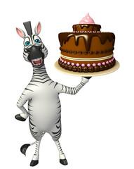 cute Zebra cartoon character with cake