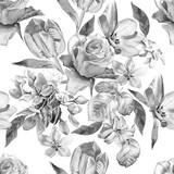 Monochromatyczny wzór z wiosennych kwiatów. Róża. Tulipan. Hiacynt. Akwarela. - 111858761