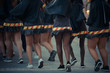 Closeup of women's legs in a Carnival parade outdoors background