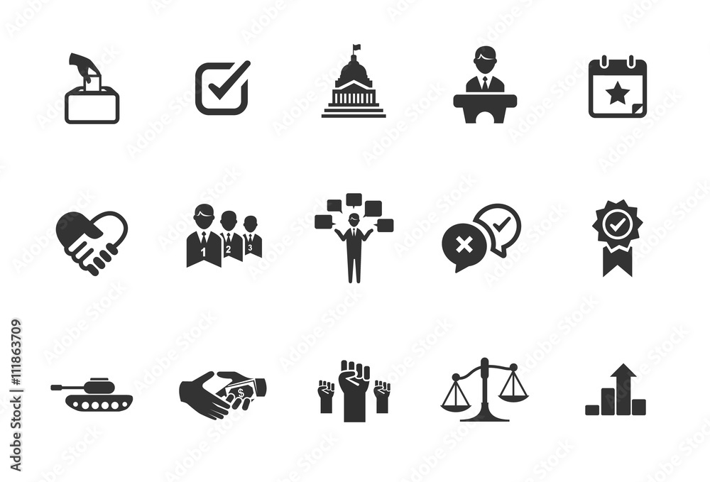 Fototapety, obrazy: A set of political icons in black and white.