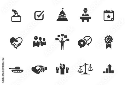 Photo  A set of political icons in black and white.