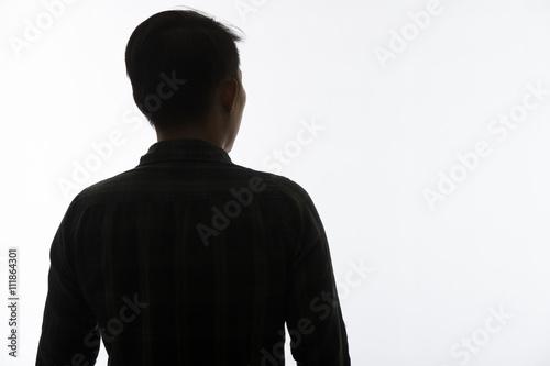 Fotografie, Tablou Silhouette man portrait, concept of unknown, anonymous, unnamed etc