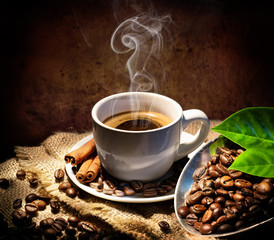 Fototapeta Kawa Aroma And Taste In Traditional Coffee Cap