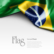 canvas print picture Flag of Brazil on white background. Sample text.