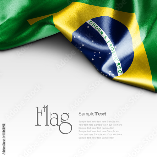 Foto  Flag of Brazil on white background. Sample text.