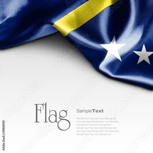 Photo  Flag of Curacao on white background. Sample text.