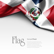 canvas print picture Flag of Dominican Republic on white background. Sample text.