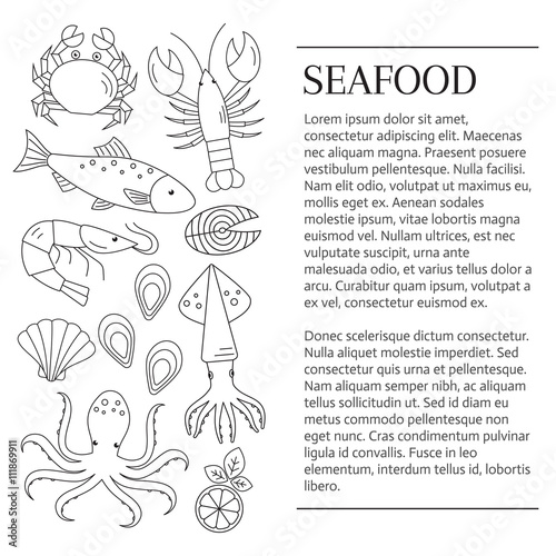 Fototapety, obrazy: Seafood background. Seafood banner. Vector flat line illustrations of lobster, crab, salmon, fish, squid, oyster, shrimp, octopus, eel. Seafood restaurant menu.
