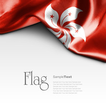 Flag Of Hong Kong On White Background. Sample Text.