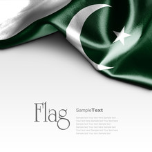 Flag Of Pakistan On White Background. Sample Text.