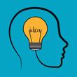 Idea design. Light bulb icon. Flat illustration , vector