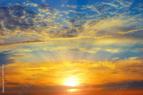 obraz dibond beautiful sunrise and cloudy sky