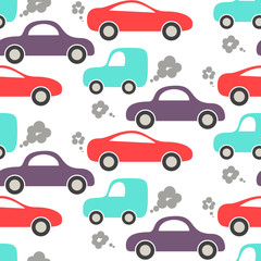 Tapeta Car cute baby vector seamless pattern. Kid fabric and apparel design. Blue, purple and red cars on white.