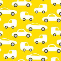 Tapeta Car cute baby vector seamless pattern. Kid fabric and apparel design. Bright yellow vans vehicles on white.