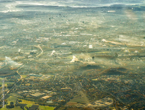 Photo  Aerial view of Ruhr district, city of Essen with coal mine, cokery and several o
