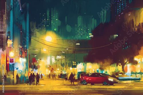 night scene of cityscape with illumination,illustration art