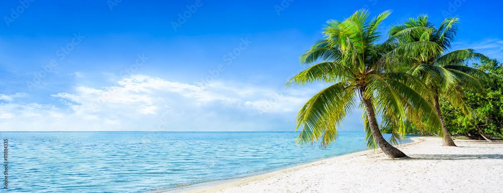 Foto-Schiebegardine Komplettsystem - Strandurlaub Panorama im Sommer