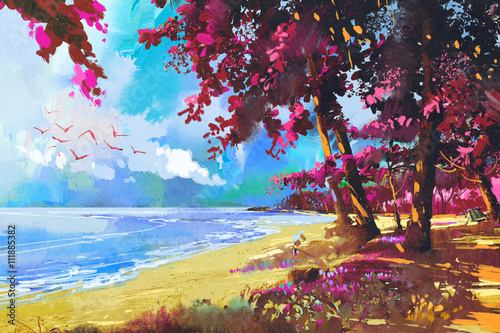 różowe drzewa na plaży, lato, ilustracja krajobraz