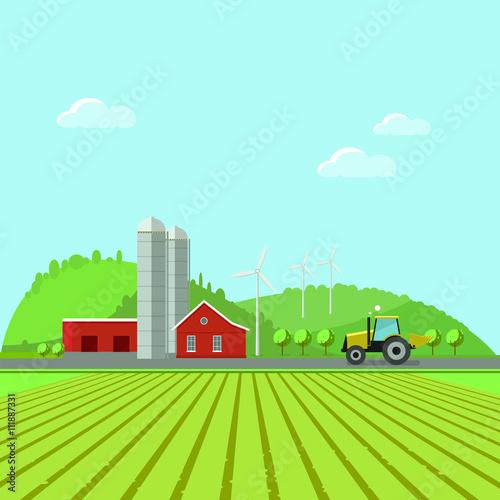Poster Gris Rural landscape, environment. Flat design vector illustration concept.Eco tourism. Eco tourism.Rural tourism.Farming fields. Eco-tourism
