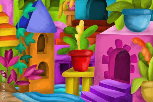 Montage in der Fensternische Klassische Abstraktion colorful houses and terraces