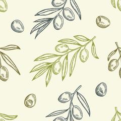 Fototapeta Olive seamless pattern. Hand drawn vector illustration.