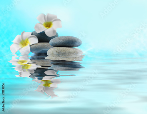 Fototapety, obrazy: Spa stones and flower on water
