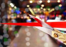Scissors Cutting Red Ribbon Cl...