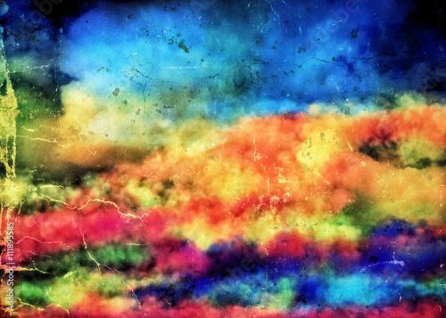 Fototapeta Retro kolorowe tło w bajkowe chmury obraz