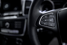 Car Control Buttons ; Interior Details. Steering Wheel With System Of Safety Speakerphone And Radeo