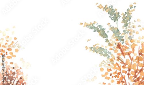 autumn red leaves watercolour background copy space - 111905188