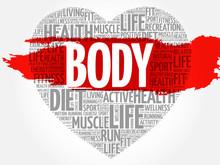 BODY Heart Word Cloud, Fitness, Sport, Health Concept