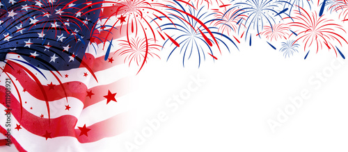 Photo  USA flag with fireworks on white background