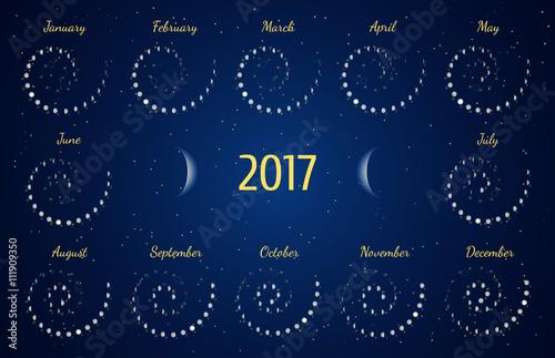 Vector Astrological Spiral Calendar For 2017 Moon Phase Calendar In